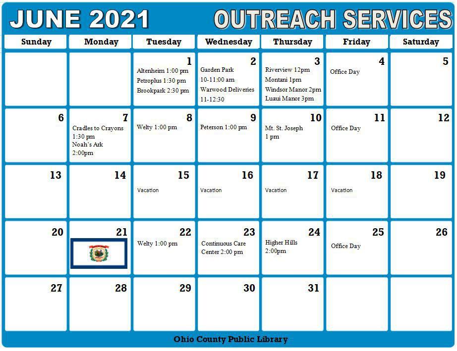 June 2021 Outreach Calendar