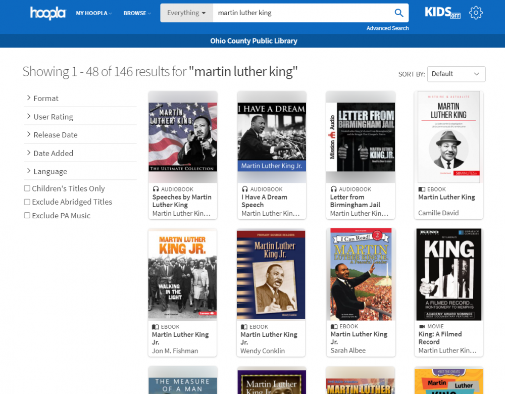 Books about Martin Luther King Jr. available through Hoopla