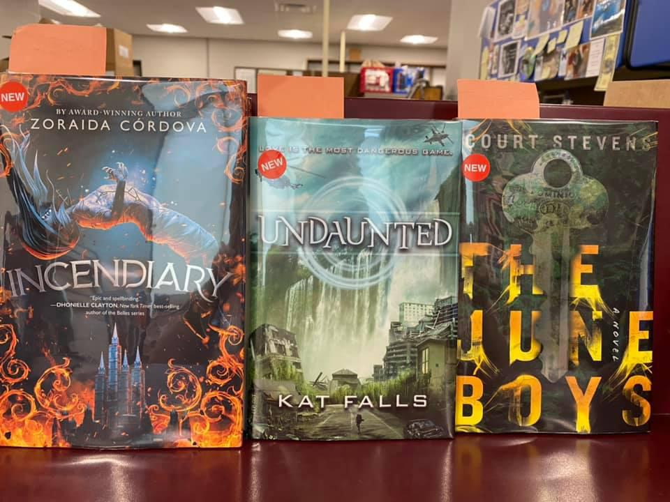 New Young Adult Books Available for curbside pick-up at the Library - Incendiary by Zoraida Cordova, Undaunted by Kat Falls, The June Boys by Court Stevens