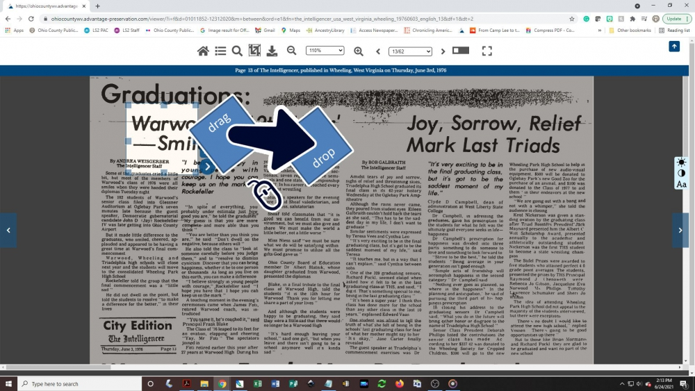 Creating a newspaper clipping - step 2: Drag the cropping box into place