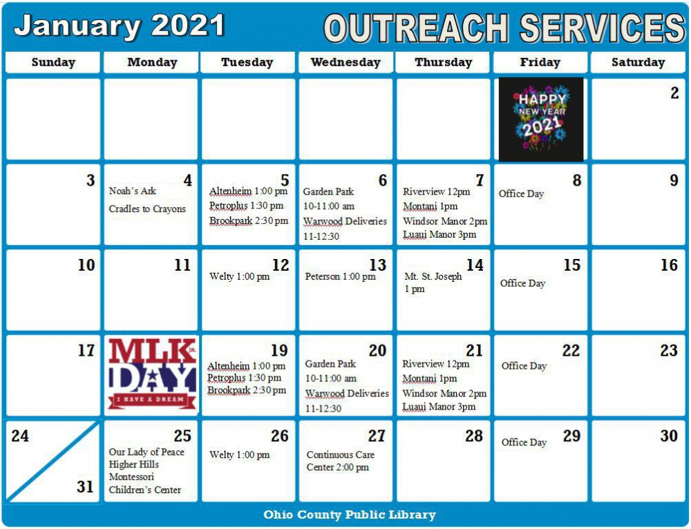 January Outreach Services Schedule