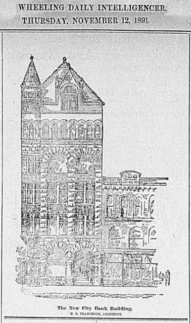 New City Bank Building, Illustration from the Wheeling Daily Intelligencer, Nov 12, 1891.