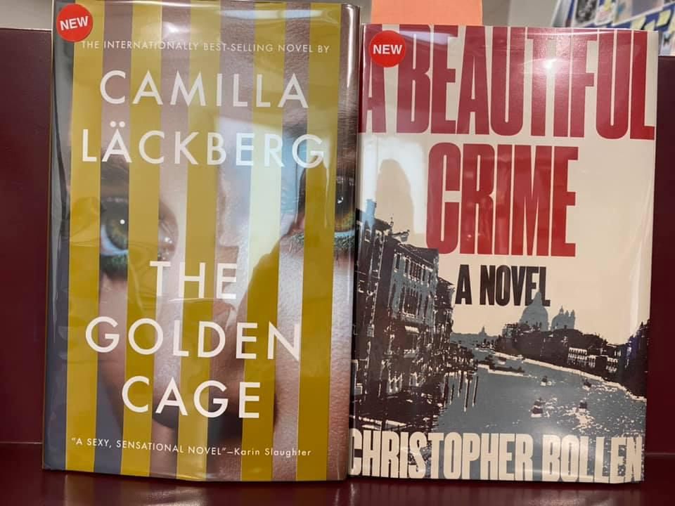 New Fiction Available for curbside pick-up at the Library - The Golden Cage by Camilla Lackberg, A Beautiful Crime by Christopher Rollen