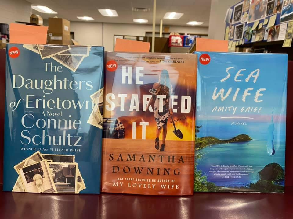 New Fiction Available for curbside pick-up at the Library - The Daughters of Erietown by Connie Schultz, He Started It by Samantha Downing, Sea Wife by Amity Gaige
