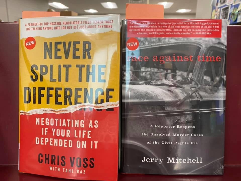 New Non-Fiction Available for curbside pick-up at the Library - Never Split the Difference by Chris Voss, Race Against Time by Jerry Mitchell