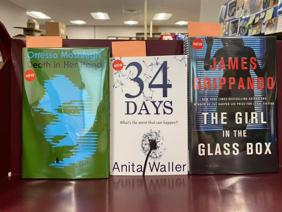 New Fiction Available for curbside pick-up at the Library - Death in Her Hands by Ottessa Moshfegh, 34 Days by Anita Waller, The Girl in the Glass Box by James Grippando