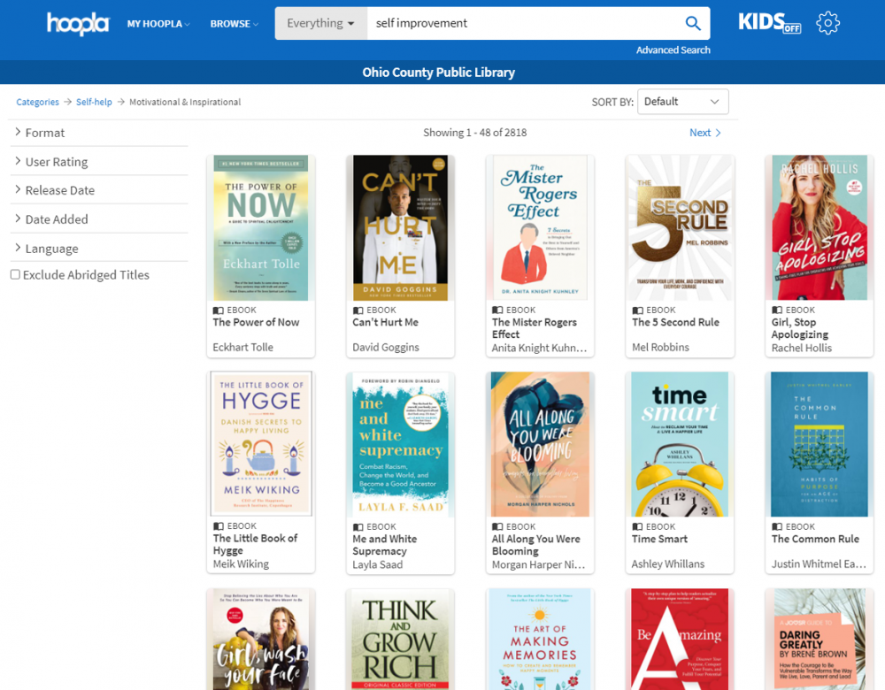 Self-Improvement Books available right now through Hoopla