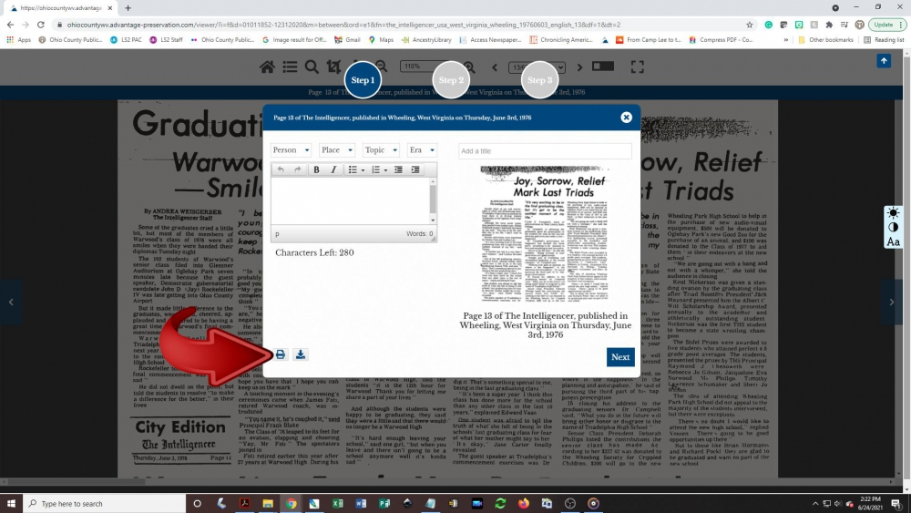 Creating a newspaper clipping - step 5: A pop-up box will appear on the screen. Wait for the image of the article to appear, then click the printer button.