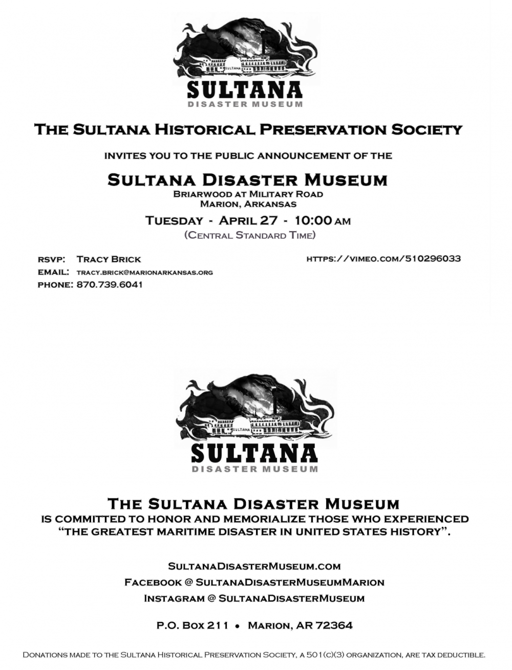 Sultana Disaster Museum Announcement
