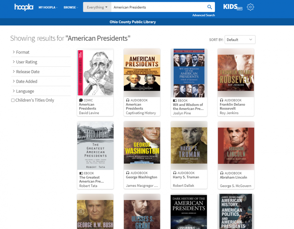 Books about American Presidents available through Hoopla