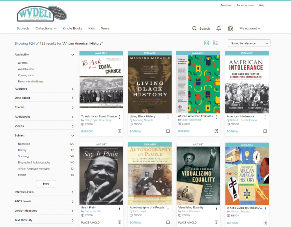 Check out ebooks, audiobooks, and more through WVDeli