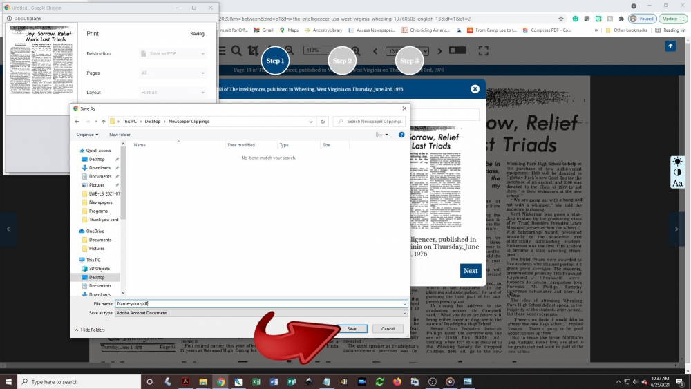 Creating a newspaper clipping - step 7: A Save As pop-up box will appear on the screen. Choose a folder on your computer or device to save the image to and click the Save button.