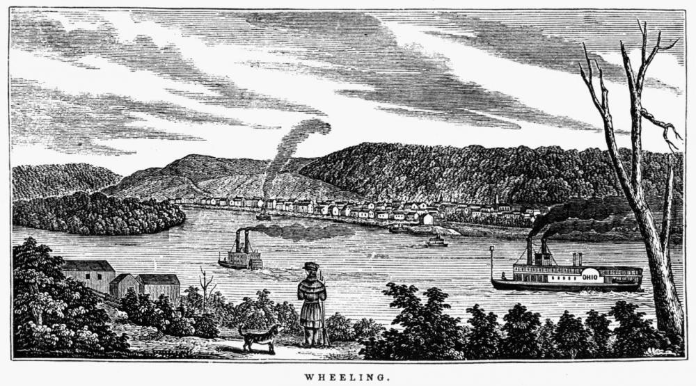 Depiction of Wheeling prior to the Suspension Bridge