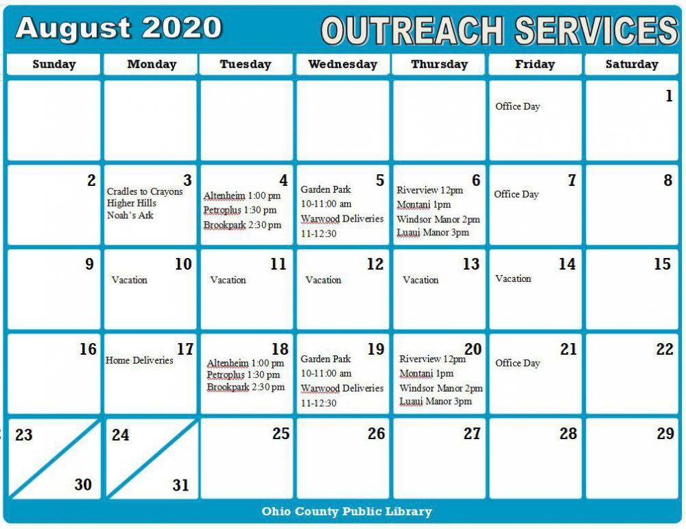 Modified August 2020 Outreach Calendar