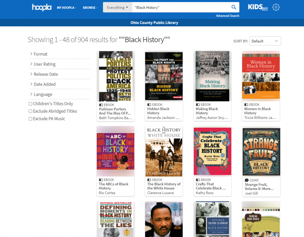 Check out ebooks, audiobooks, and more through Hoopla. No waitlists ever!
