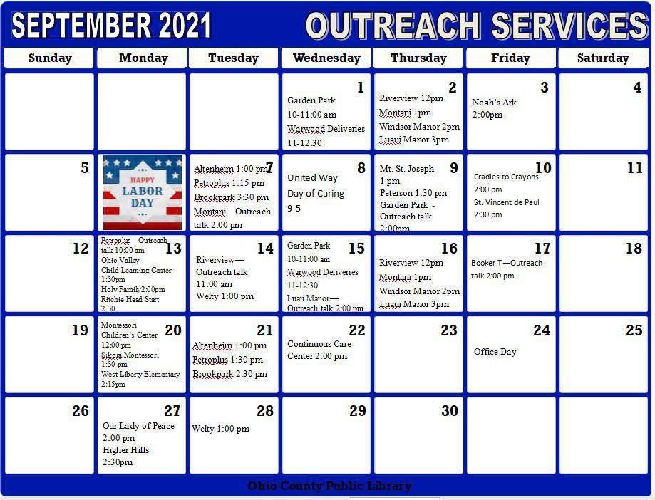 September Outreach Calendar