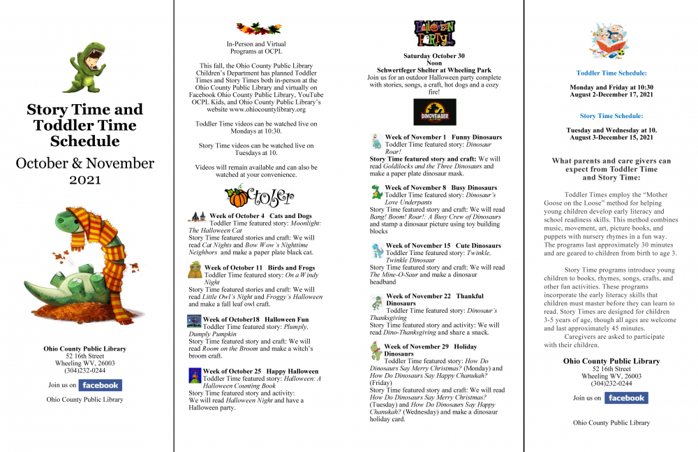 OCPL Kids 2021 October and November Calendar