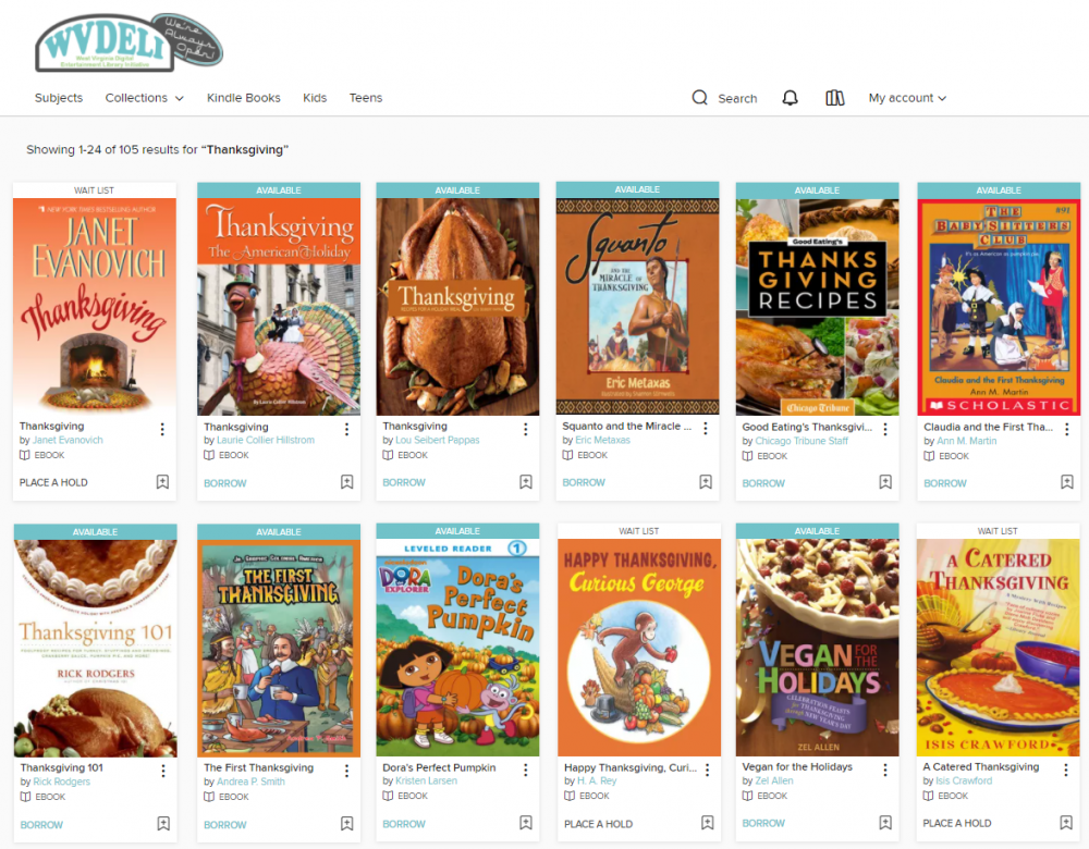 Books about Thanksgiving available right now through WVDeli