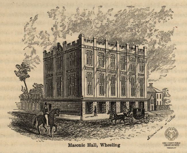 Washington Hall (Masonic Temple), image from the book Rambles in the Path of the Steam-Horse, by Eli Bowen, 1855. Ohio County Public Library Rare Book Collection.