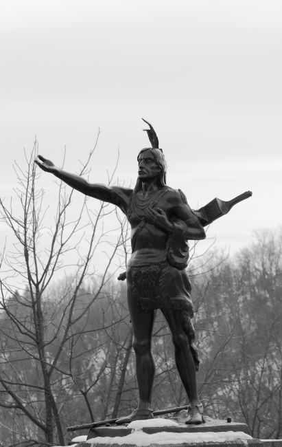 The Mingo Statue at the top of Wheeling Hill on National Road.