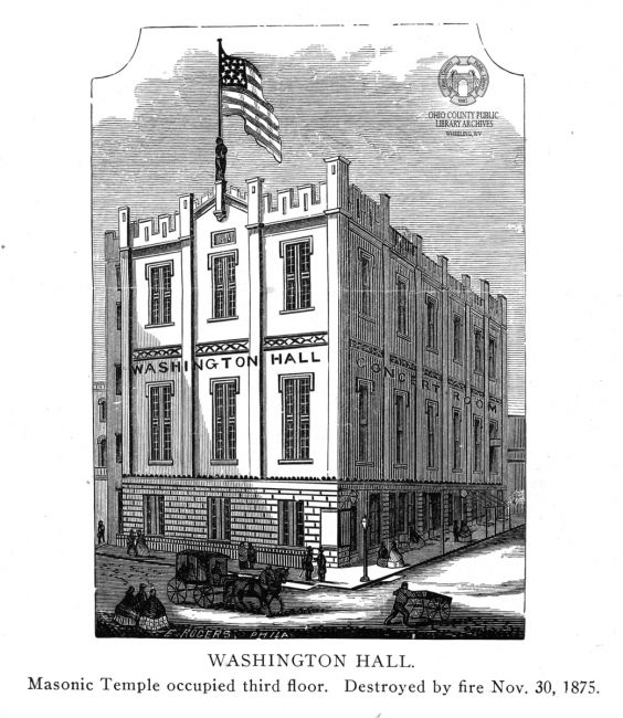 The original Washington Hall structure on the NW corner of 12th and Market Streets. Image from the collections of the Ohio County Public Library Archives.