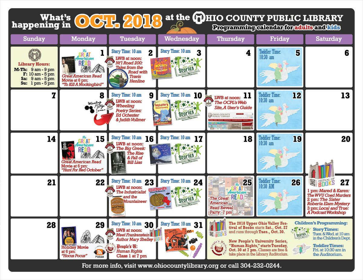 OCPL Programming Calendar: October 2018