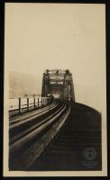 Looking down the tracks of the Wheeling Terminal Bridge from Wheeling towards Martin's Ferry, circa 1913