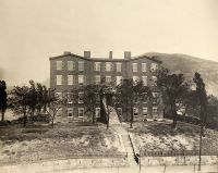 Wheeling Female College. A famous girl's school until 1889, when it was converted to a hospital. It stood on the site of the present Ohio Valley Medical Center.