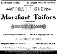 Thomas Hughes & Co, Merchant Tailor, Wheeling, W. Va., 1881 Advertisment