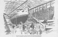 Engraving from the Wheeling Daily Intelligencer, March 18, 1897: Launching of the U.S.S. Wheeling. Caption -- Scene at the Moment the Twins Started Down the Greased Way