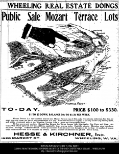 Real Estate advertisement for lots in Mozart Terrace, May, 1906