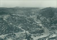 View of Wheeling from Chapline Street hill behind the Ohio Valley General Hospital.