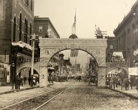 The arch erected for the reunion of the Grand Army of the Potomac on 12th and Market Street.