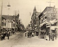 Main Street Looking North, when town was fully decorated for Columbian Day, October 21, 1892. Made from 16th Street.
