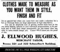 J. Ellwood Hughes, Tailor, Wheeling, W. Va., 1907 Advertisment