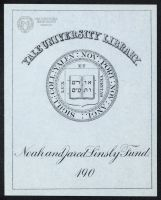 Bookplate from the Jared and Noah Linsly Fund, Yale College. -from the collections of the Ohio County Public Library Archives
