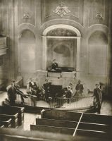 Interior of the Fourth Street Church. Jenny Lind sang from this rostrum.