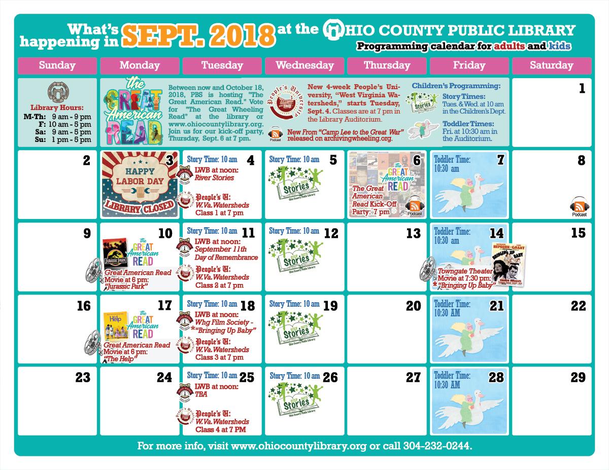 OCPL Programming Calendar: September 2018