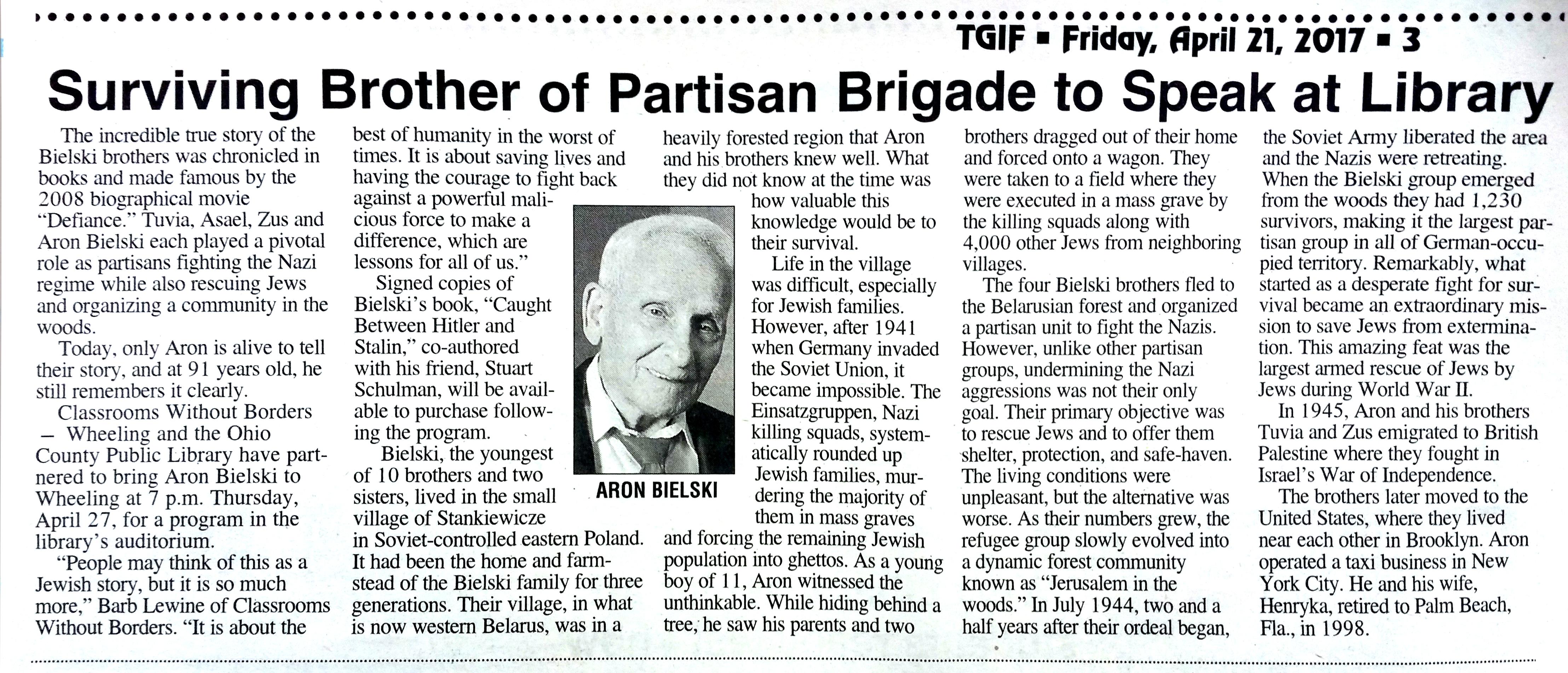 TGIF article: Aron Bielski at Library, Thursday, April 27, 2017