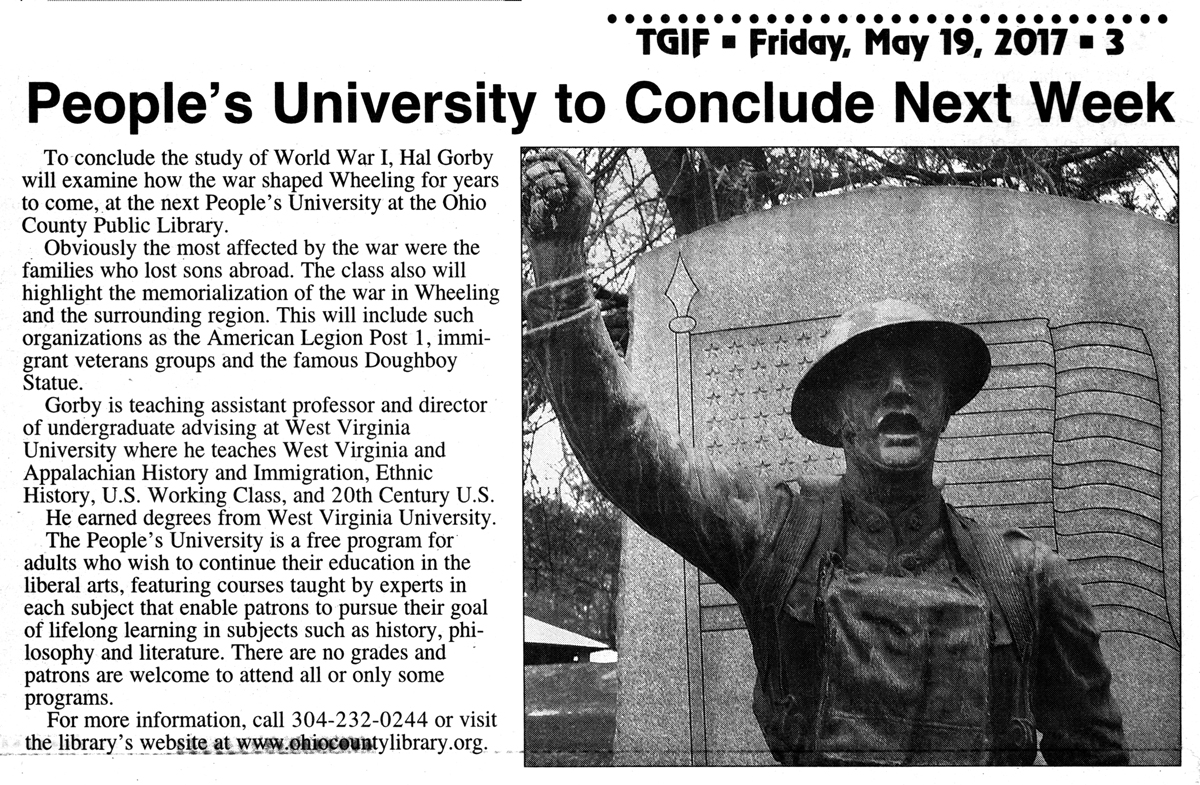 TGIF, May 15, 2007: People's University, WWI - Wheeling Remembers the War