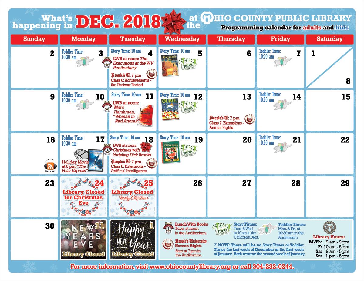 OCPL Programming Calendar: December 2018