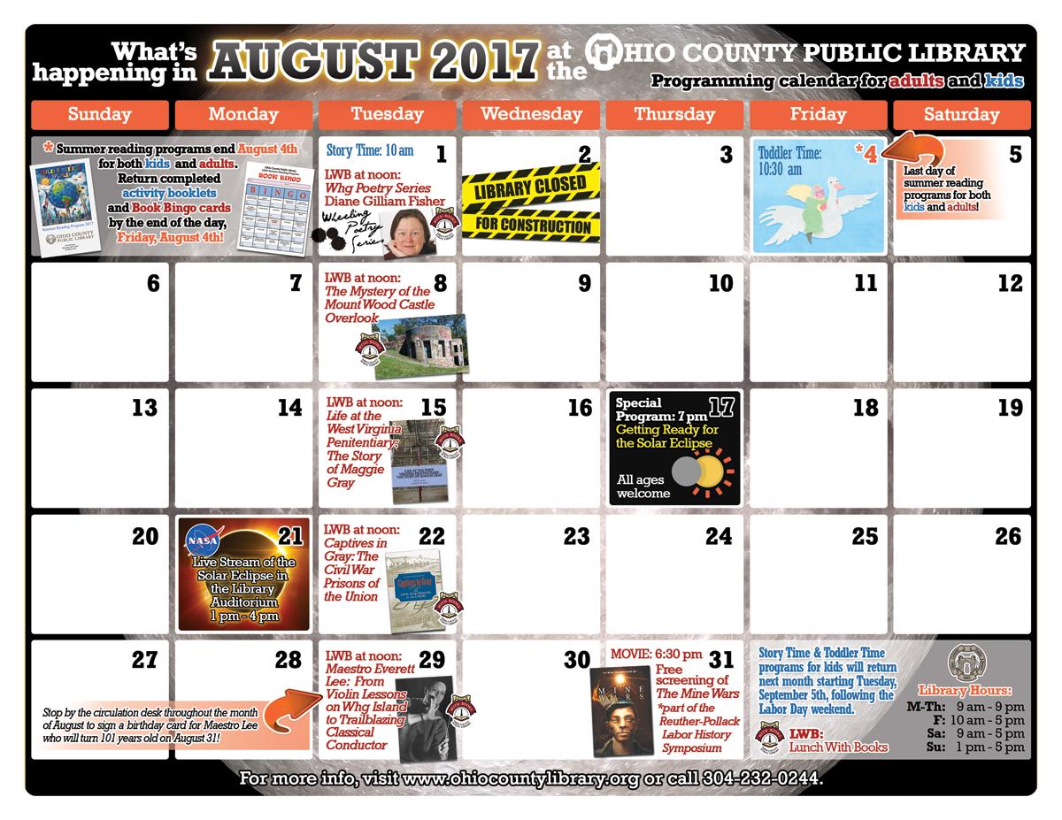 OCPL Programming Calendar: August 2017