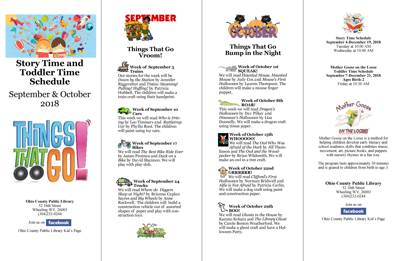Story Time Schedule, Fall 2018