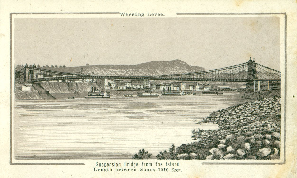 Suspension Bridge Image, Souvenir of Wheeling, 1885