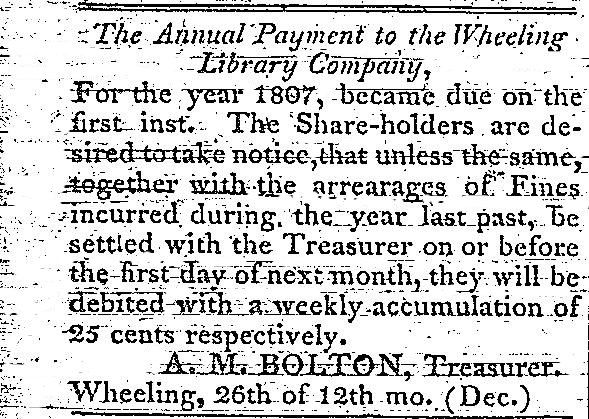 1807 Announcement of Wheeling Library Company
