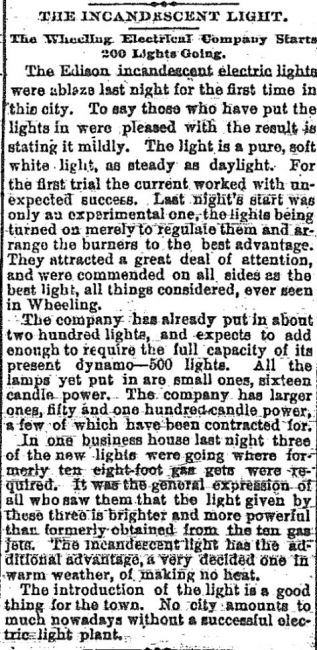 Incandescent light comes to Wheeling, 1887, image of the original Intelligencer news story.