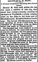Beverly M. Eoff: Obituary from the Wheeling Intelligencer, Jan. 3, 1887