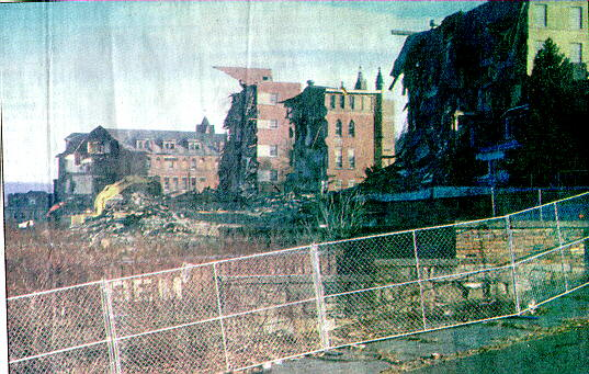 Old Wheeling Hospital in North Wheeling, being demolished, 1997